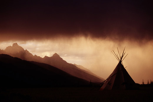 Sunset Grand Teton Mountain Range Teepee